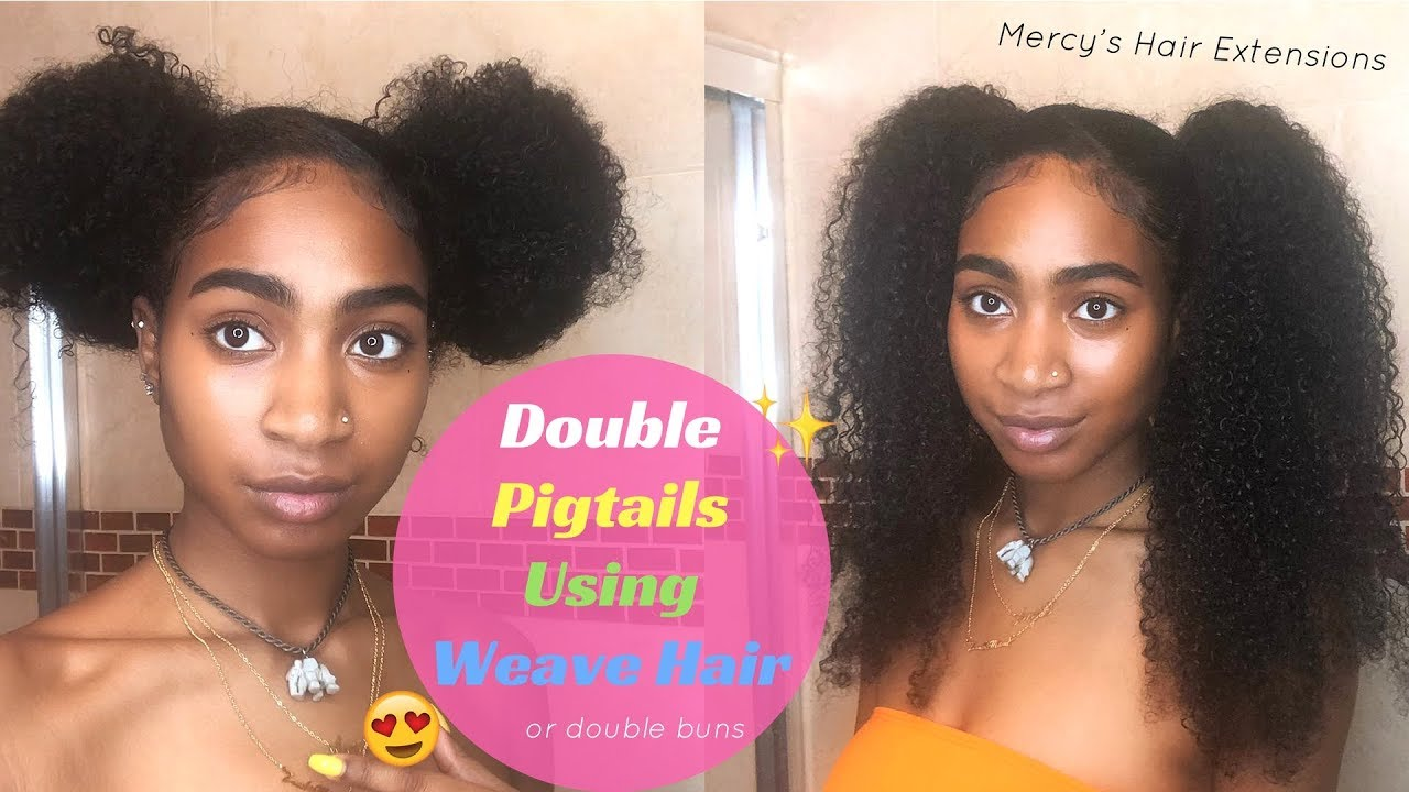 Double Pigtails With Weave Hair Mercys Hair Extensions Mongolian Kinky Curly