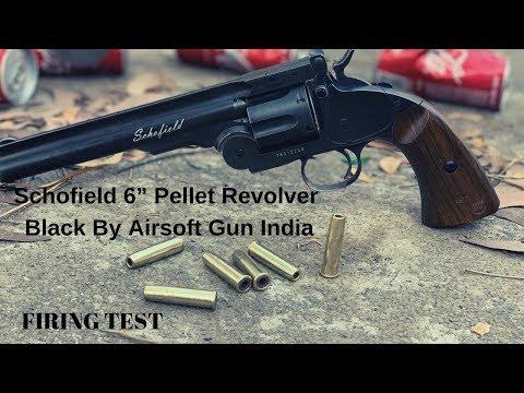 "Schofield 6"" Pellet Revolver Black By Airsoft Gun India FIRING TEST"