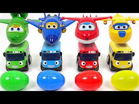 Thumbnail: Present has arrived from Super Wings!! Baby Tayo with surprise eggs!! - DuDuPopTOY