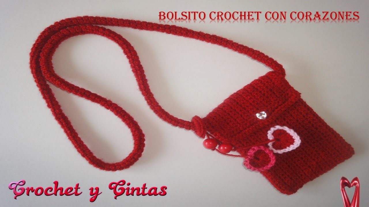 Bolso con corazones crochet (ganchillo) - YouTube