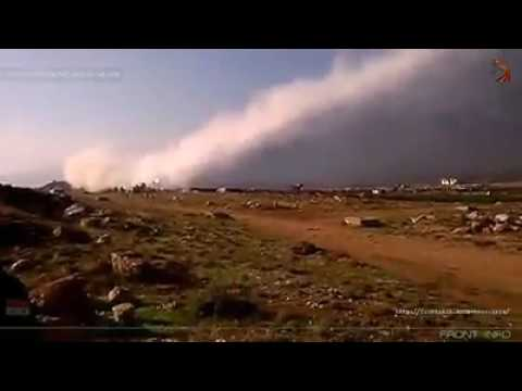 Syrian missiles destroying the terrorists in Aleppo