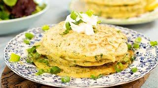 Greek Savory Pancakes with Onions & Herbs: Kremydotiganites