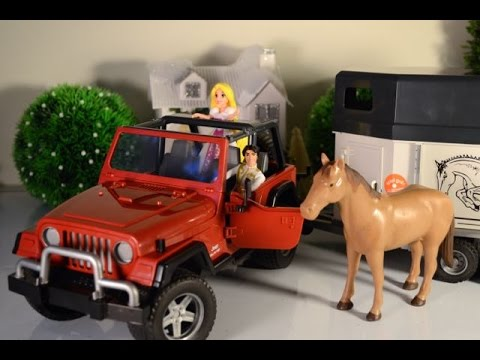 Jeep Wrangler Suv Horse Trailer By Cat Bruder Prince Charming Rapunzel Toy Review