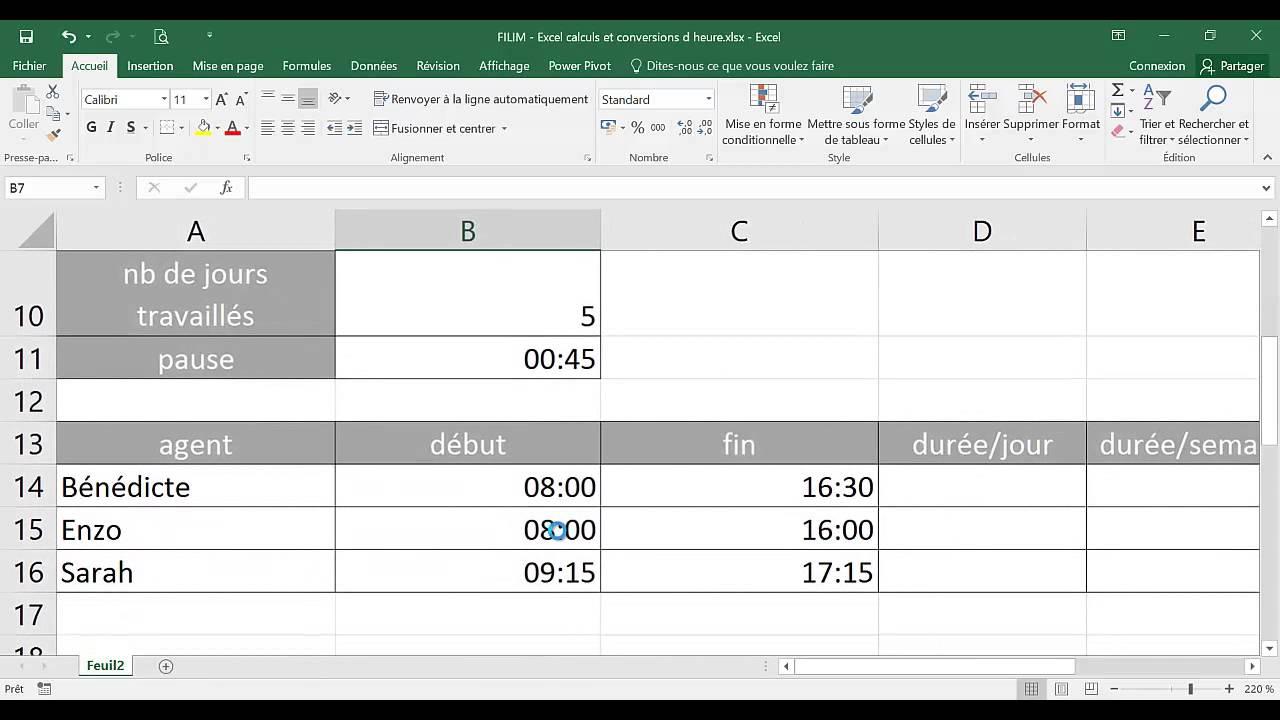 Excel Calculs Et Conversion D Heure Youtube