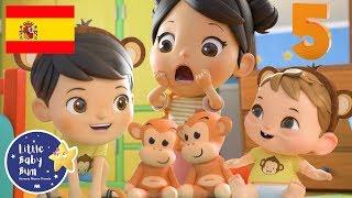 Cinco Monitos Saltando en la Cama | Canciones Infantiles | Little Baby Bum en Español