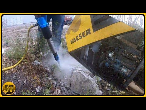 Передвижной дизельный компрессор KAESER М50 и пневматический отбойный молоток МО-2К