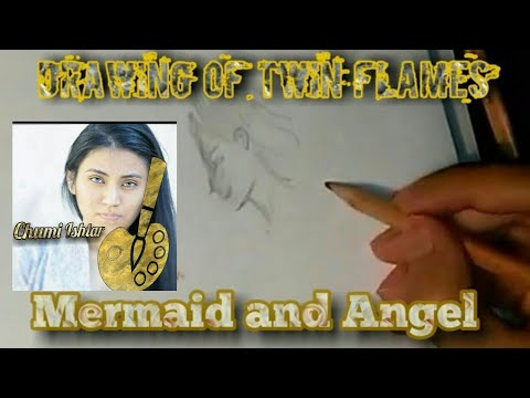 Twin Flame Speed Drawing | Mermaid and Angel |  Wind and water | Eternal Partners | One Soul
