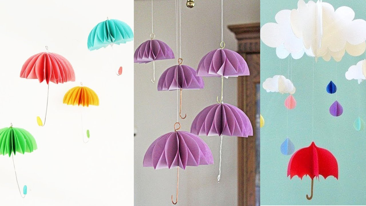 Paper Umbrella Wall Hanging Wall Decoration Idea With