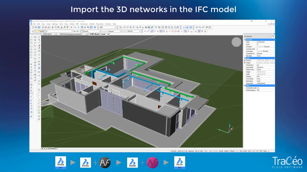 AUTOFLUID/AUTOBIM3D + BricsCAD BIM: How to draft HVAC networks and import  them in the 3D model