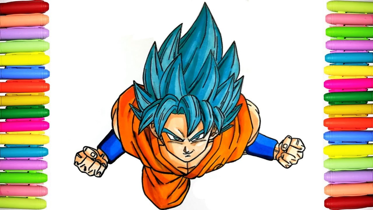 Dragon Ball Coloring pages for kids - Coloring Goku SSJ Blue