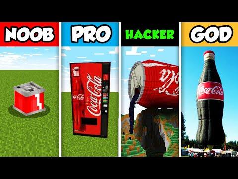 NOOB Vs PRO Vs HACKER Vs GOD : FAMILY COCA COLA HOUSE BUILD CHALLENGE In Minecraft! (Animation)
