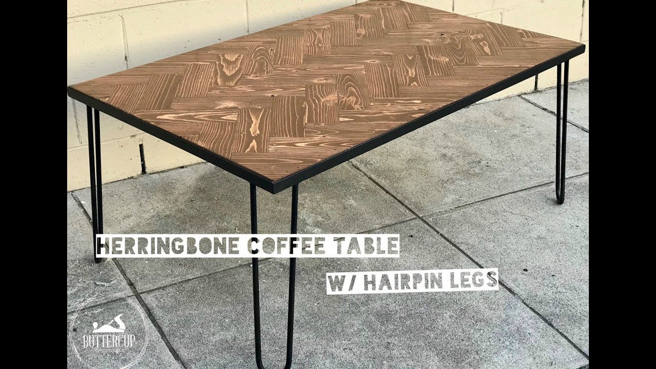 Herringbone Coffee Table W Hairpin Legs