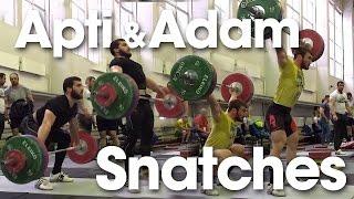 Apti Aukhadov & Adam Maligov Snatch Session Slow Motions 2016 Russian Weightlifting Championships