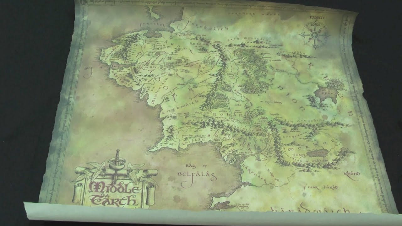 weta parchment map of middle earth lord of the rings review by movie figures youtube