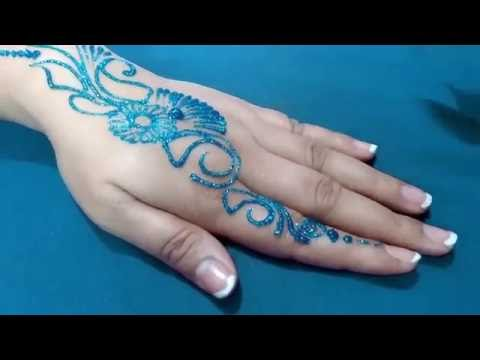 New Easy and Quick BLUE color Glitter Mehndi Design for Parties ★ step by step tutorial
