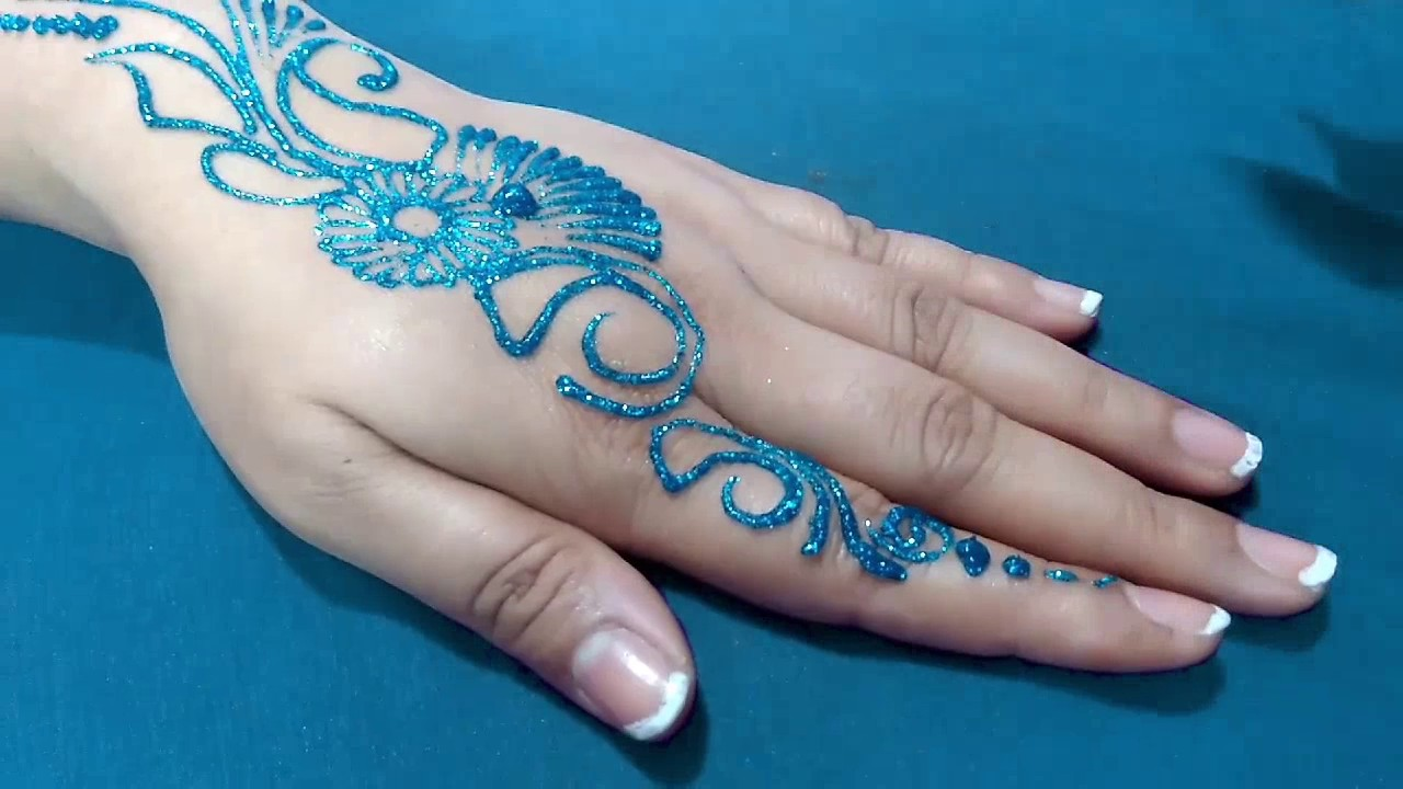 Colorful Henna Designs: New Easy And Quick BLUE Color Glitter Mehndi Design For