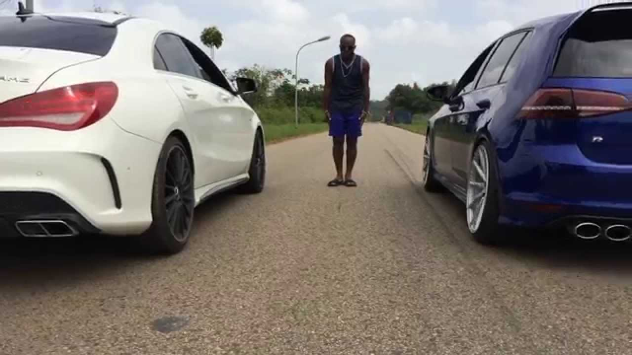 mercedes cla amg vs vw golf 7r drag test18 miles youtube