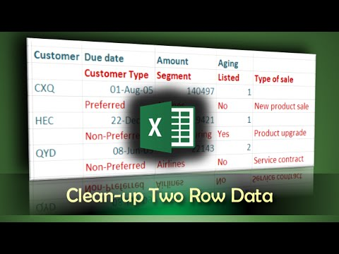 Excel Power Query Tutorial: How to clean up data which is split into two rows
