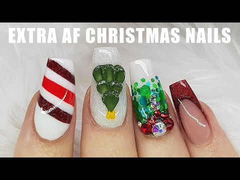 Acrylic Nails | Smile Lines | Christmas Nail Design | 3D Christmas Tree | Candy Cane Colour Block