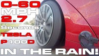 """""""فيديو"""" شاهد تسلا موديل S P100D تحقق سرعة قياسية في اختبار تحت المطر"""