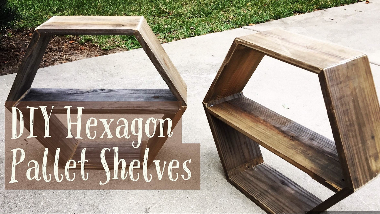 Diy Pallet Hexagon Wall Shelves How To Make Youtube