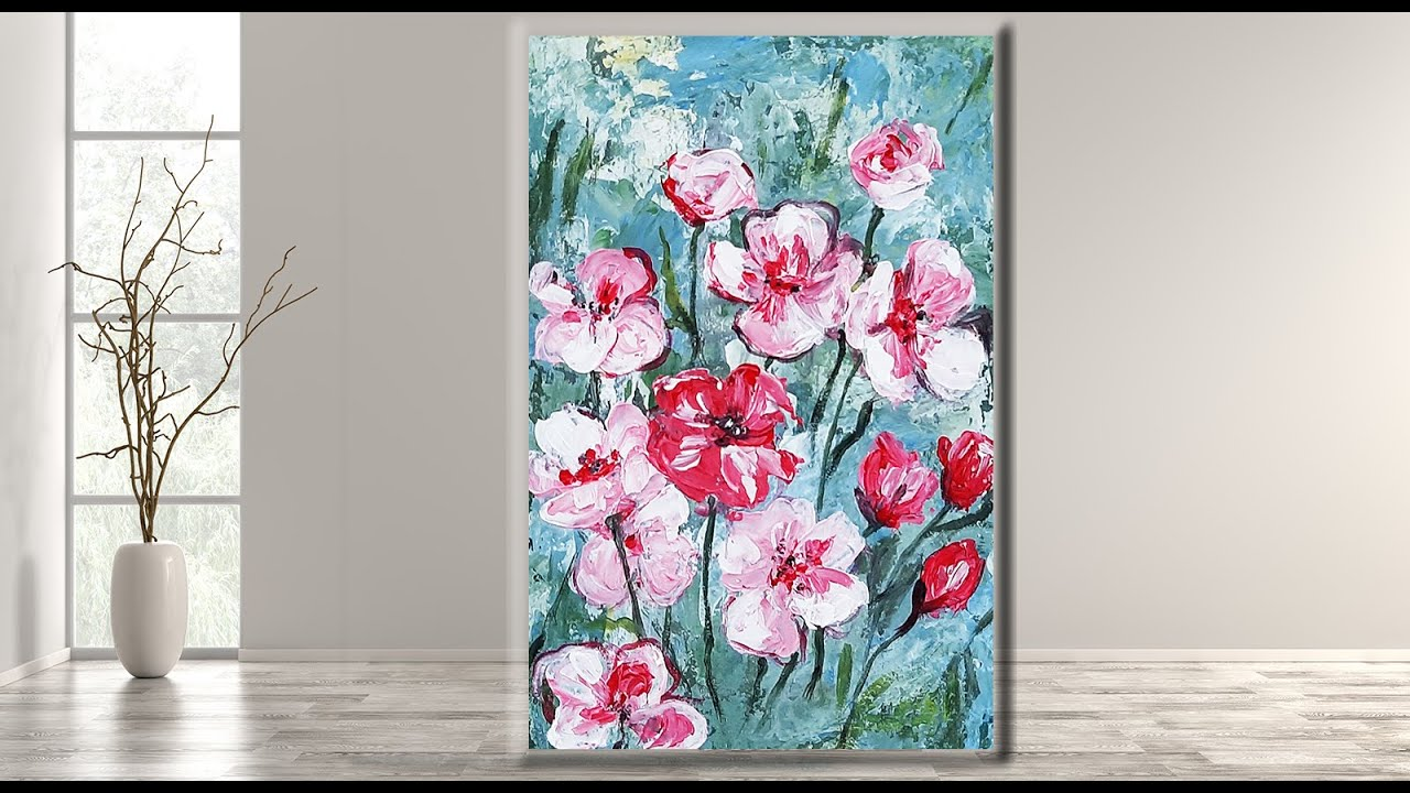 Easy Abstract Flowers/ Acrylic painting tutorial /step by ...