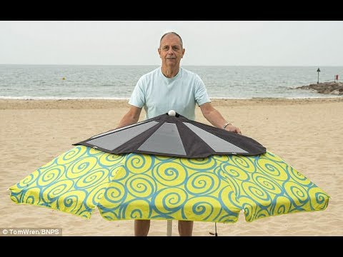£380 foldaway sun powered parasol can charge gadgets as you lounge on th...