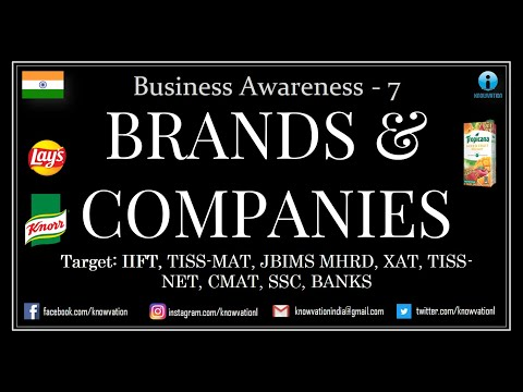 Major Brands & the Parent Companies | Business Awareness Part-7 | IIFT, TISSMAT, CMAT, TISSNET, XAT