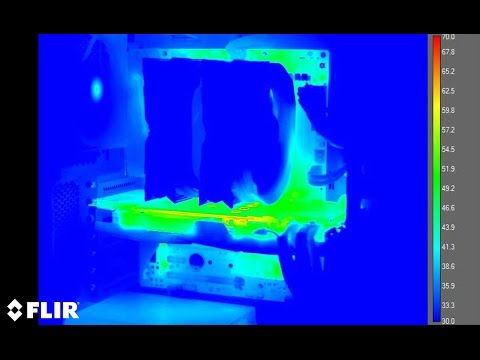 Gaming PC filmed with thermal camera