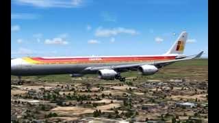 AIRBUS A340 600 IBERIA LANDING AT BARAJAS - SPAIN - FS2004