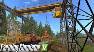 Farming Simulator 17 - DRIVABLE TRAIN & LOG CRANE (Transporting logs by train)