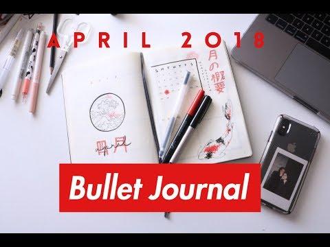 April 2018 Bullet Journal Setup // Plan with me Japanese theme