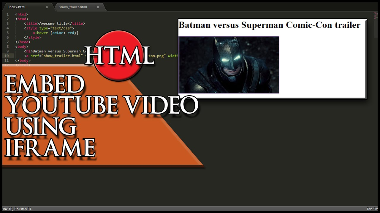 HTML Embed Youtube video using iframe