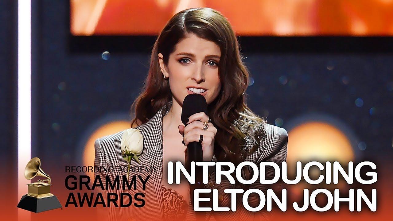 Anna Kendrick introducing Elton John at the 2018 Grammys