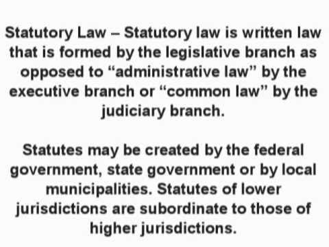 Statutory Law (Business & Contract Law) - What is the definition? - Finance Dictionary - YouTube