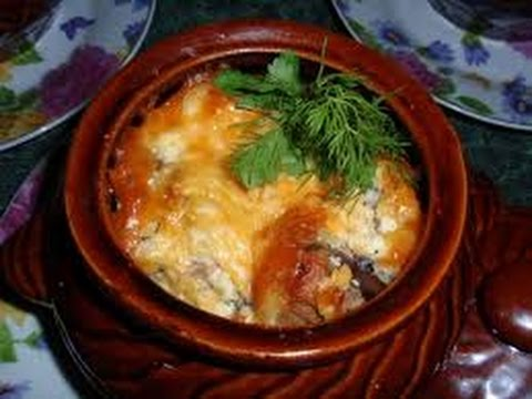 грибы в горшочке в духовке с мясом рецепт пошагово