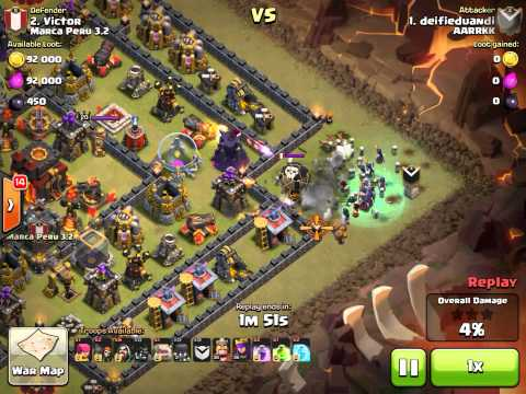 [3 star TH10] [Hocus Pocus] mass witches attack on an almost max TH10 war base (ringus defenses).