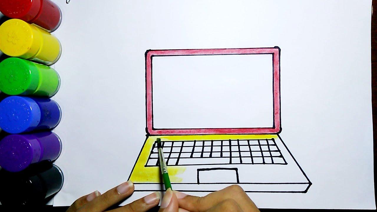 Cara Mudah Menggambar Dan Mewarnai Laptop Drawing And Colouring Laptop Easy Youtube