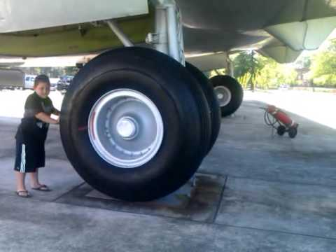 Testing the airplane wheels