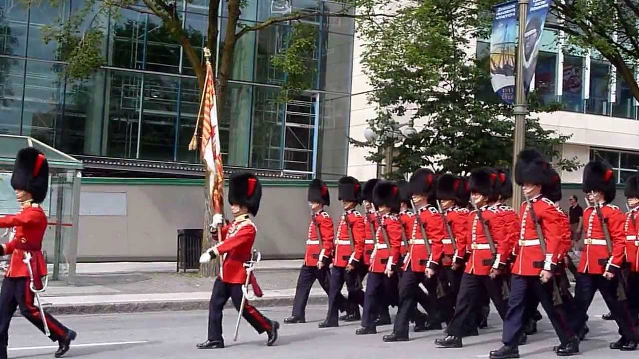 Canadian Red Coats marching down Elgin Street - YouTube