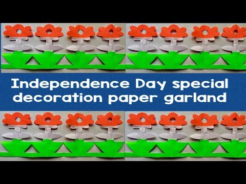 DIY easy paper garland/paper border cutting/independence Day decoration for school notice board