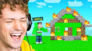 I BURNT DOWN Jelly's SURVIVAL HOUSE In Minecraft!