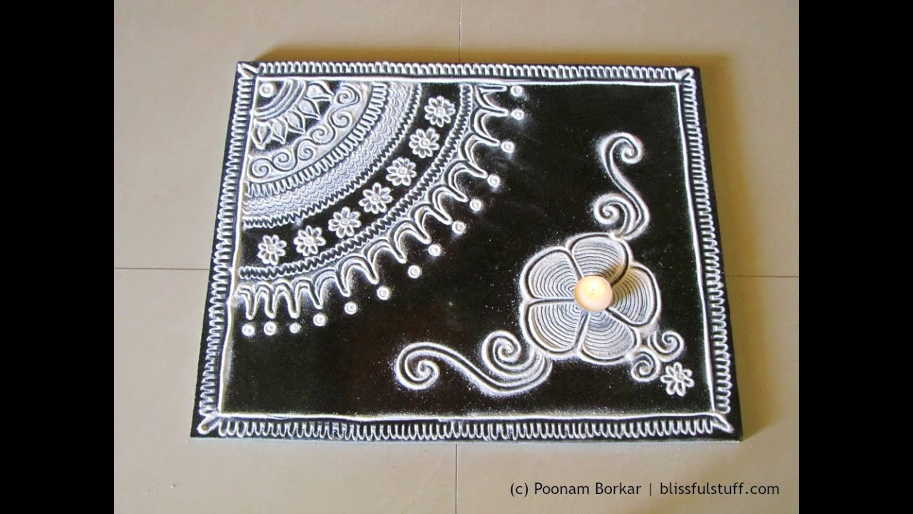 Innovative free hand rangoli design in black and white rangoli designs by poonam borkar