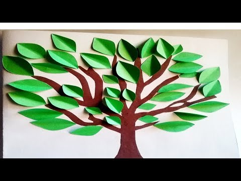 How To Make Tree With Paper. Kids School Crafts Project. Pre-School Projects. Earth Day Craft
