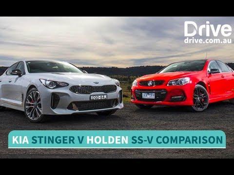 2017 Kia Stinger vs Holden Commodore SS-V Redline Comparison | Drive.com.au