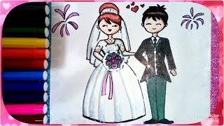 رسم عروسة و عريس سهل جدا بالخطوات للأطفال والمبتدئين ، رسم عرس ، رسم فرح ، رسم عروسة ، رسم عروسين