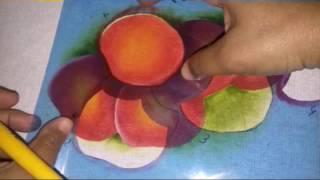 Pintura em tecido com stencil maçãs