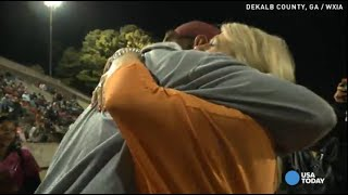 Repeat youtube video Wife's surprise brings veteran football coach to tears
