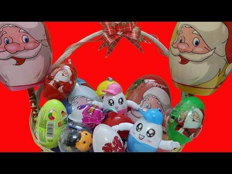 Bóc trứng đồ chơi khổng lồ ông già Noel - Santa Claus surprise eggs - AnhAnhChannel