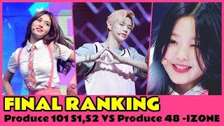 FINAL RANKING Produce 101 S1,S2 VS Produce 48 -IZONE